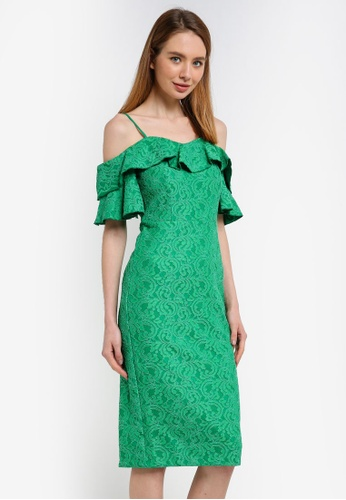 River Island green Bright Green Lace Bardot Frill Dress 89E2BAA0231850GS_1