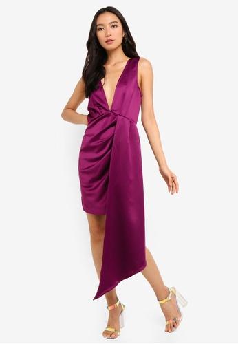 589d051ce6 MISSGUIDED purple Satin Plunge Drape Mini Dress DE907AA1C6CACAGS 1