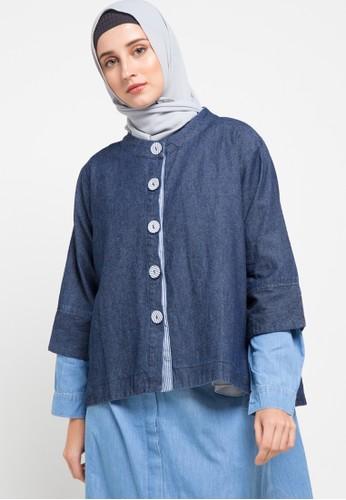 ZAHRA SIGNATURE blue Outer Denim Striped Button 10A41AABDE5718GS_1