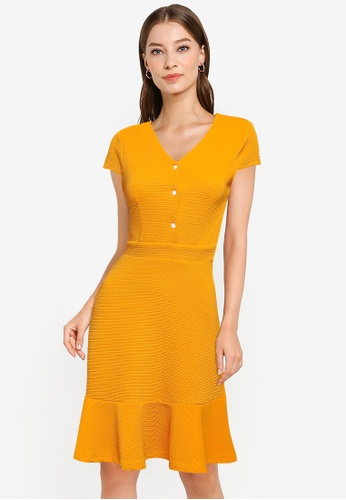 ZALORA WORK yellow Textured Knit Fit & Flare Dress 12A09AA29A8BE7GS_1
