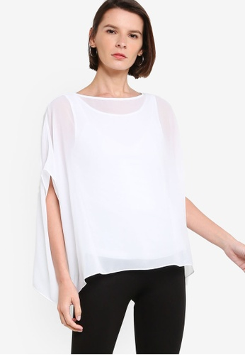 ck Calvin Klein white LIGHT DRAPE JERSEY TOP WITH GEORGETTE CBFF5AA10A1D2EGS_1