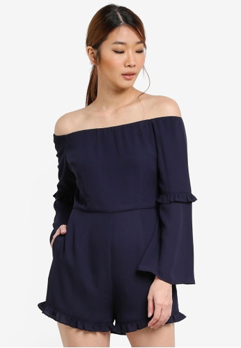 Something Borrowed navy Off Shoulder Romper With Ruffles 59DBCAA1347688GS_1