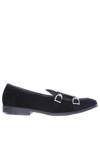 Zeve Shoes black Zeve Shoes Belgian Loafer - Black Suede Double Monk Strap 35951SH04A4B14GS_1