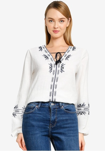 Springfield white Ethnic Embroidery Blouse C83A9AA8D1C441GS_1