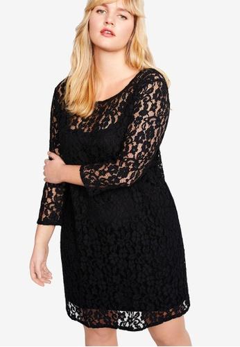 Violeta by MANGO black Plus Size Guipure Cotton Dress 135A7AAA955727GS_1