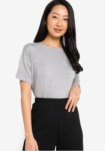 ZALORA BASICS grey Oversized T-Shirt 5284BAA2B3D787GS_1