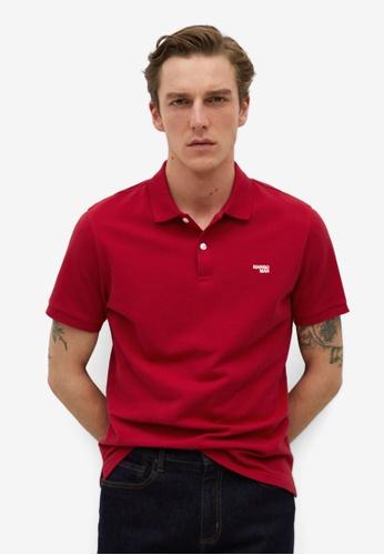 MANGO Man red Organic Cotton Logo Polo Shirt 58258AA621A49AGS_1
