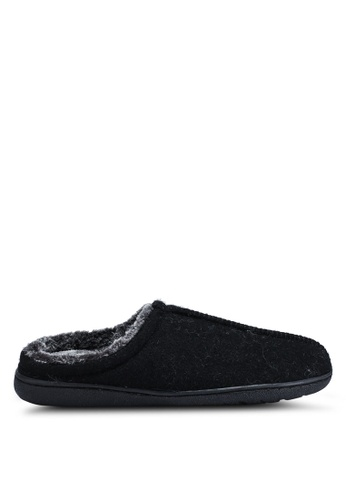 Burton Menswear London black Black Textured Mule Slippers 83C76SH5F0AF78GS_1