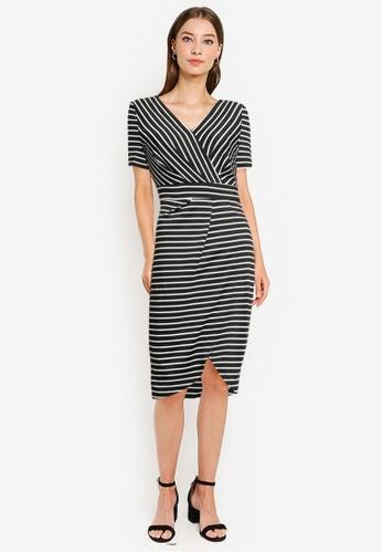 ZALORA WORK black Pleated Wrap Dress 4C332AA6F5958FGS_1