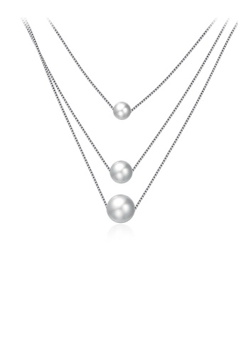 Glamorousky white 925 Sterling Silver Simple Three Layer Pearl Necklace 50DD1AC731B53FGS_1