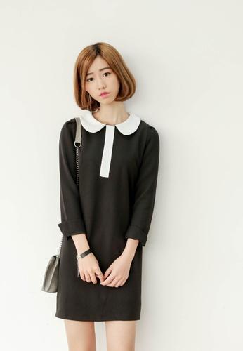 Shopsfashion black and white Diana Shift Dress in Black SH656AA78VJPSG_1
