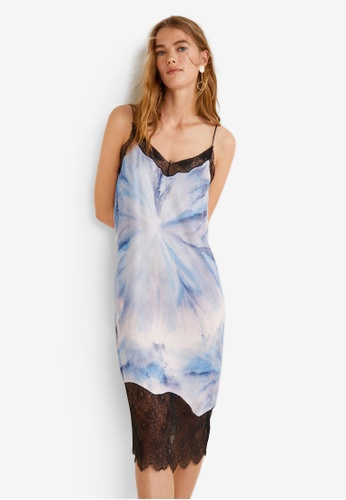 Mango blue Tie-Dye Print Dress FA14AAAC7D9AD0GS_1