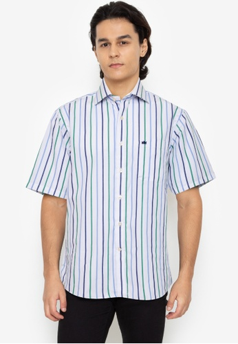 Savile Row multi Short Sleeve Button Up Shirt With 3-Color Stripe Print - Navy 2D927AA7C569DBGS_1