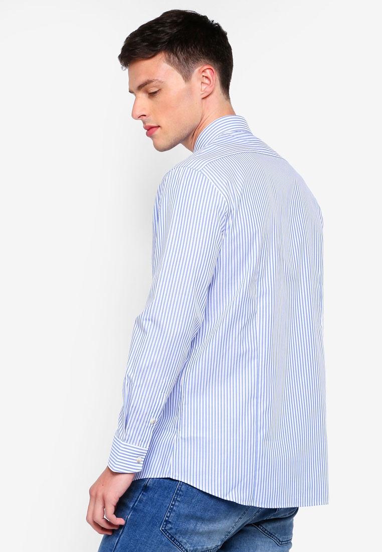 Shirt Twilight Cotton 40S Sleeve Blue Long G2000 Stripe qIZUgwU