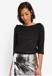 Dorothy Perkins black Black Glitter Mutton Sleeve Top DO816AA0SB5OMY_1