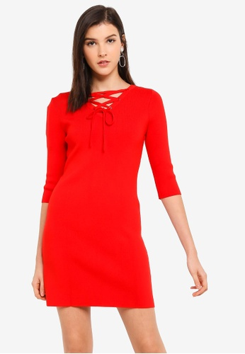 Hopeshow red Long Sleeve Knitted Mini Dress 19978AA894B036GS_1