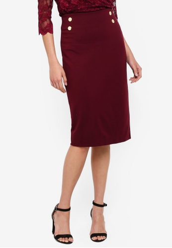 4bb80c5ab Shop Dorothy Perkins Wine Button Pencil Dress Online on ZALORA Philippines