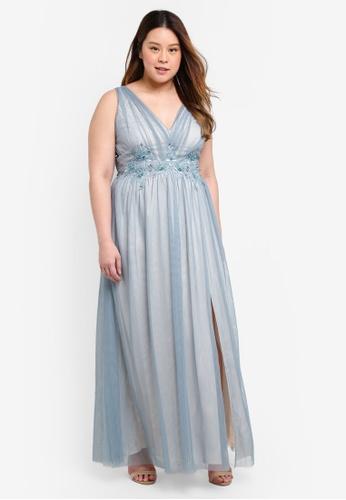 Little Mistress blue Plus Size Embellished Maxi Dress 482C2AA1821D21GS_1