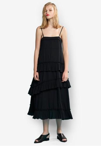 不對稱層esprit sg次細肩帶洋裝, 服飾, 洋裝