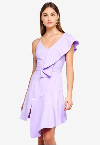 Lavish Alice purple Draped Asymmetric Cami Mini Dress CA479AA265741DGS_1