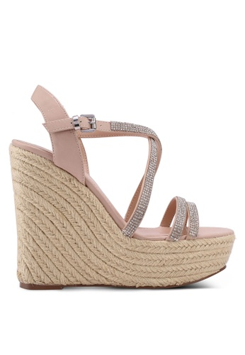 Miss KG brown Peach Embellished Wedge Sandals 79544SHD4530CEGS_1