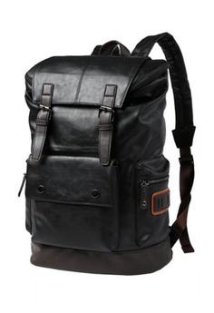 6b28fddaf5 Lara black Double Strap Fastening Backpack for Men 55056ACD64F933GS_1
