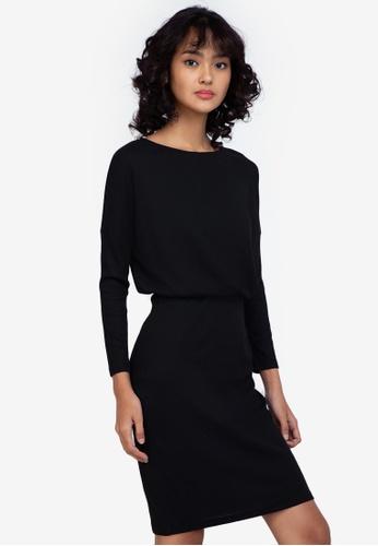 ZALORA BASICS black Boat Neck Jersey Dress 16A73AAC088E22GS_1