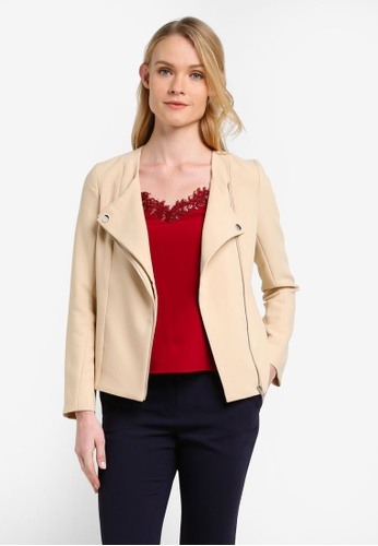 ZALORA beige Tailored Biker Jacket E58E0ZZ84D7DA9GS_1