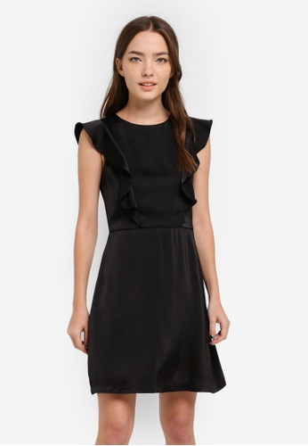 Something Borrowed black Ruffled Shoulder Dress 5E878AA1EFE96DGS_1