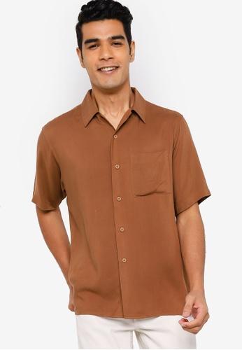 Earth by Zalia Basics 褐色 Men's Collar Shirt made from ECOVERO™ 6CA66AAA63BAE9GS_1