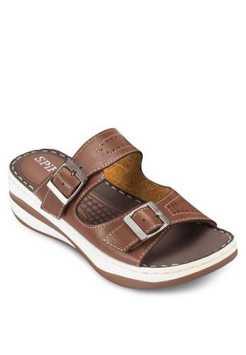 雙扣環帶厚底涼zalora 泳衣鞋拖鞋, 女鞋, 涼鞋