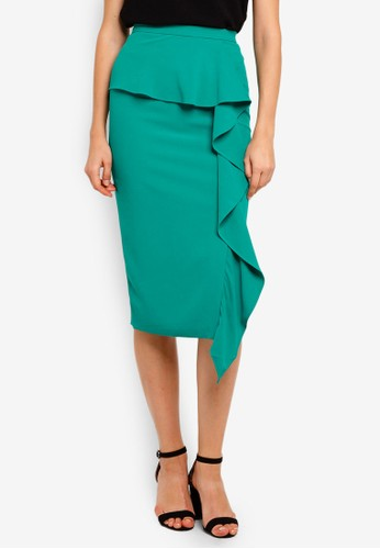 Lavish Alice green Woven Midi Skirt With Asymmetric Draped Peplum 128E0AAFB36173GS_1