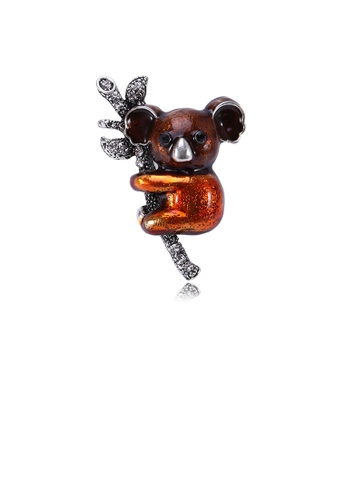 Glamorousky white Fashion Cute Brown Sloth Brooch with Cubic Zirconia 21DB0AC874228EGS_1