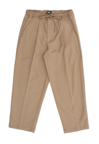 izzue brown Drawstring loose trousers DE79EAABC1F891GS_1