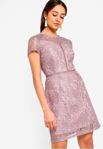 ZALORA purple Panel Lace Dress AB514AA2AB047DGS_1