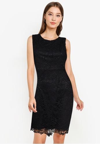 ZALORA WORK black Lace Sheath Dress 8B606AAD2A0FE0GS_1