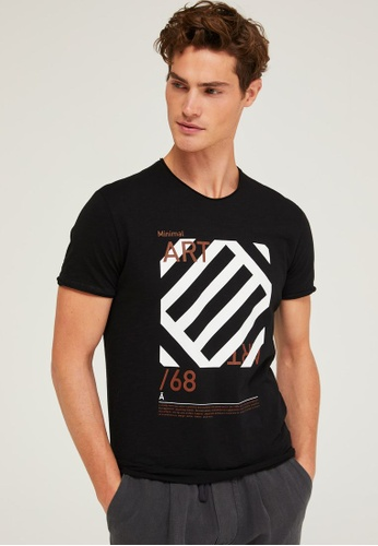 Sisley black Printed T-shirt E5776AA90B8A77GS_1