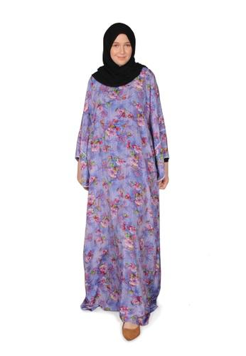 Bait Al Hijaab purple and multi ONE-OF-A-KIND PRINTED KAFTAN KS 3F30FAAB504225GS_1