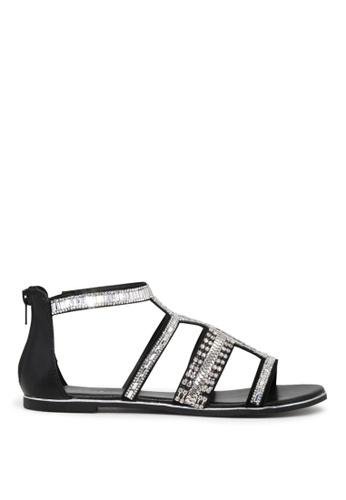 London Rag 黑色 LONDON RAG 女式黑色条带露趾平底凉鞋 5C695SHAEC3905GS_1