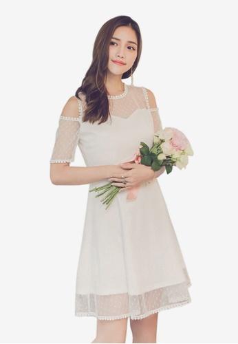 YOCO white Cold Shoulder Lace Dress D4558AA594D053GS_1