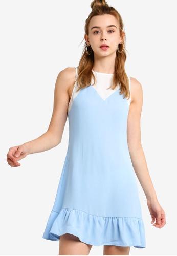 Something Borrowed 白色 and 藍色 撞色短洋裝 C051CAA337FCDFGS_1