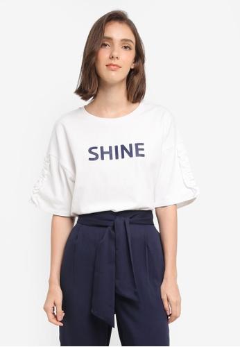 ESPRIT white 3/4 Sleeve T-Shirt B40E7AA81AEBD5GS_1