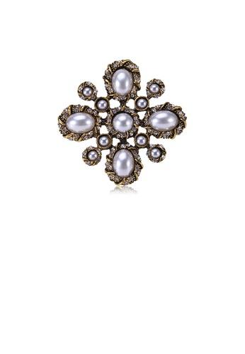 Glamorousky white Vintage Elegant Plated Gold Geometric Pattern Imitation Pearl Brooch 9CBACAC0FE4BD8GS_1