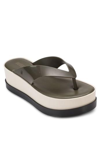 雙色厚底楔形夾腳涼鞋, 女鞋, 京站 esprit鞋