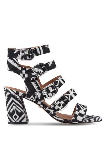 TOPSHOP black and white Natasha Multi Buckle Heels TO412SH57JGGMY_1