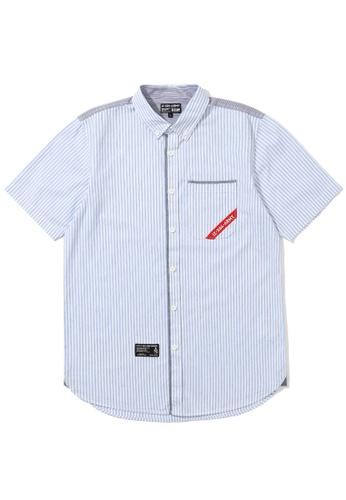 izzue blue Taped pocket poplin shirt 28C05AA9B073E7GS_1