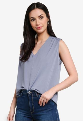 H&M blue V-Neck Top 59429AA6814375GS_1