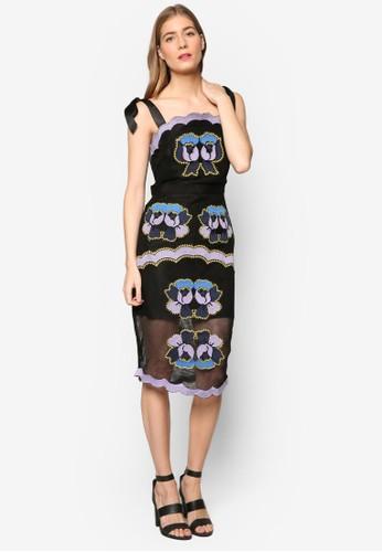 Eva 繫帶肩帶刺繡貼身esprit 衣服連身裙, 服飾, 洋裝