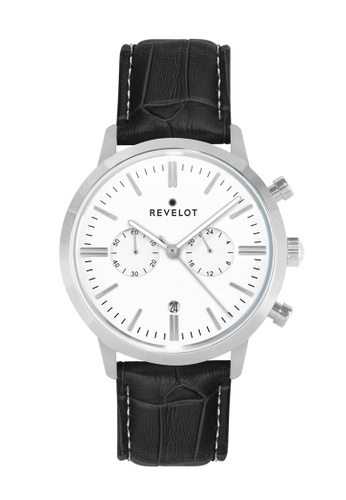 REVELOT white R1 CHRONO - WHITE/SILVER WITH 22MM BLACK BAMBOO LEATHER 00F46AC48EC7A4GS_1