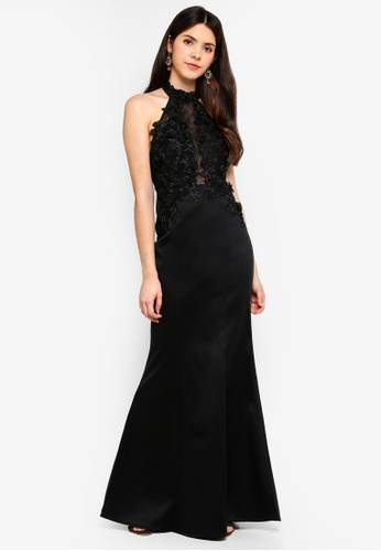 Goddiva black Halter Neck Embroidered Maxi Dress E6BACAAA5043B3GS_1